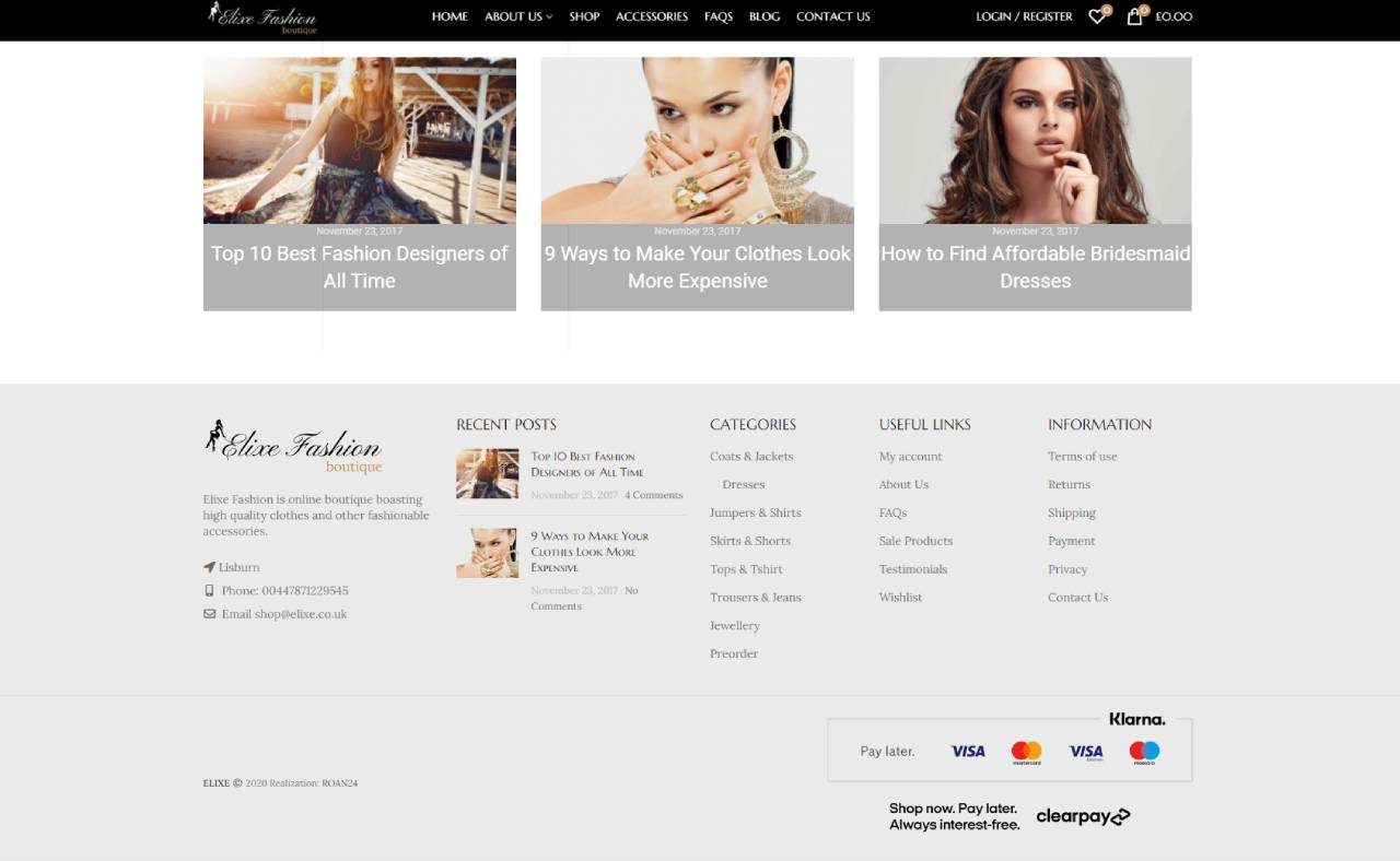 ROAN24 Elixe Fashion HOME Fußzeile